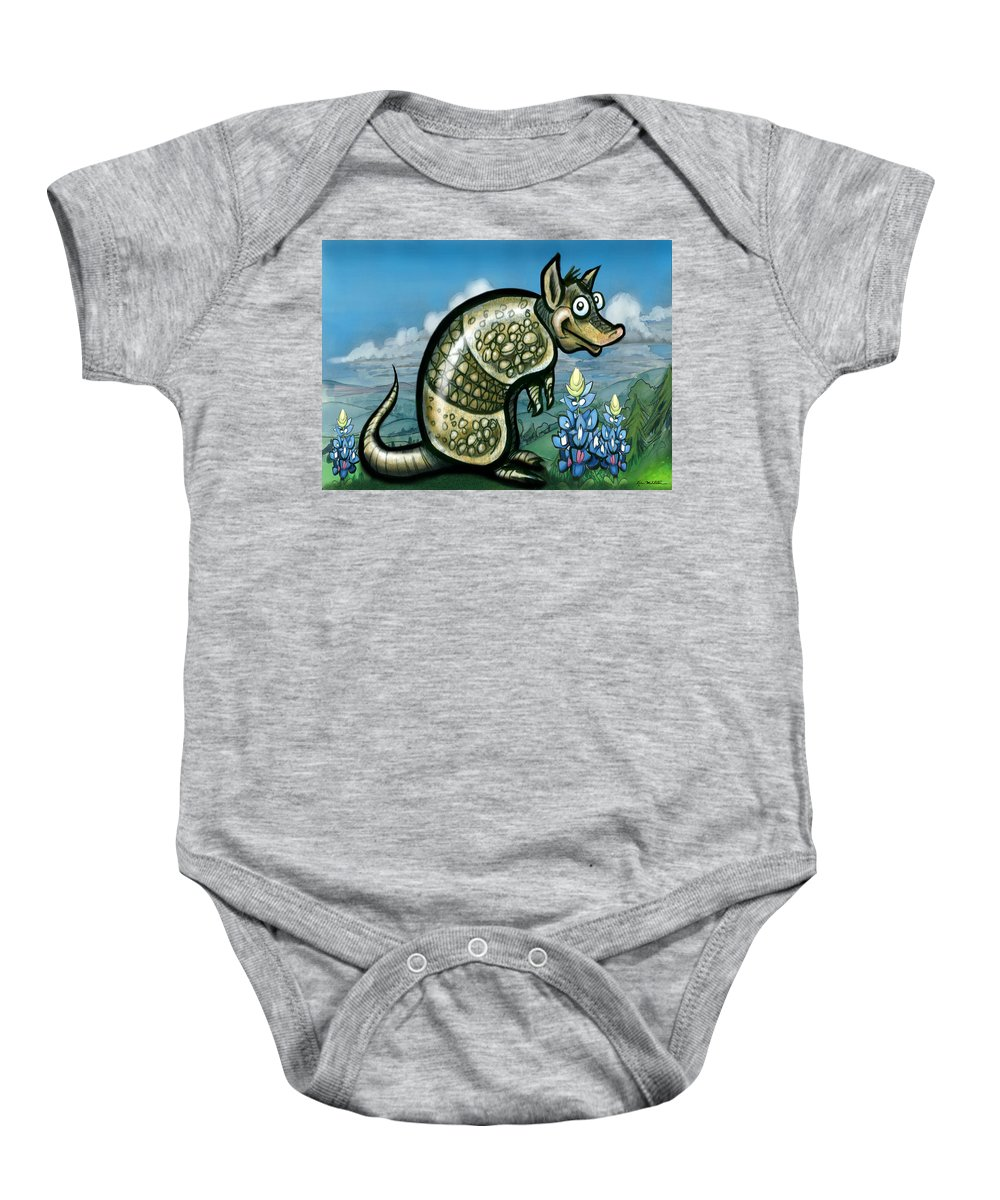Armadillo Baby Onesie featuring the painting Armadillo N Bluebonnets by Kevin Middleton