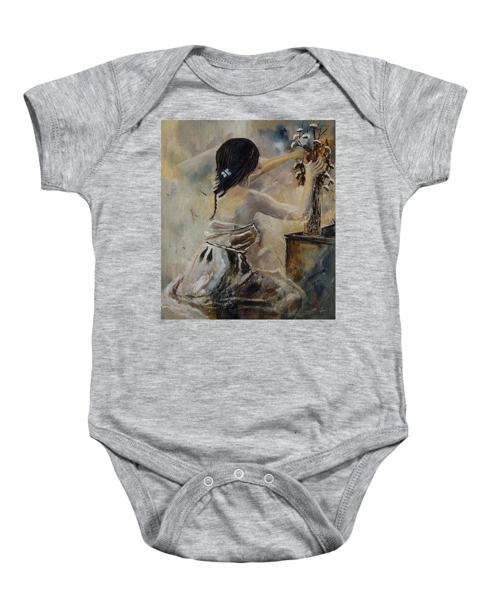 Girl Baby Onesie featuring the painting Arranging Flowers by Pol Ledent
