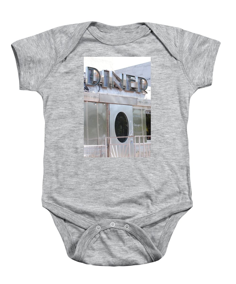Architecture Baby Onesie featuring the photograph Art Deco Diner by Rob Hans