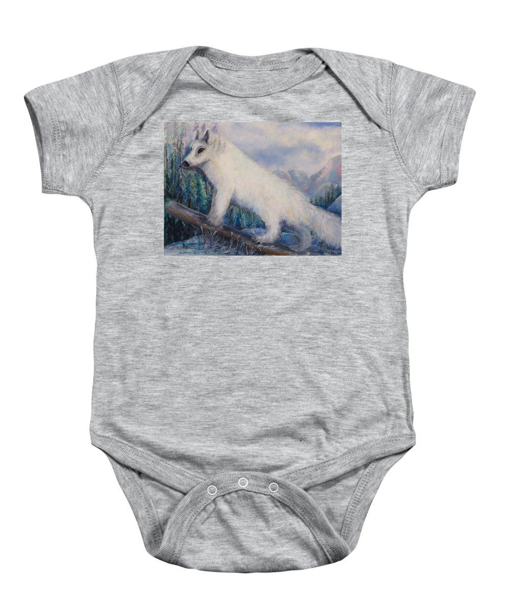 Artic Baby Onesie featuring the painting Artic Fox by Bernadette Krupa