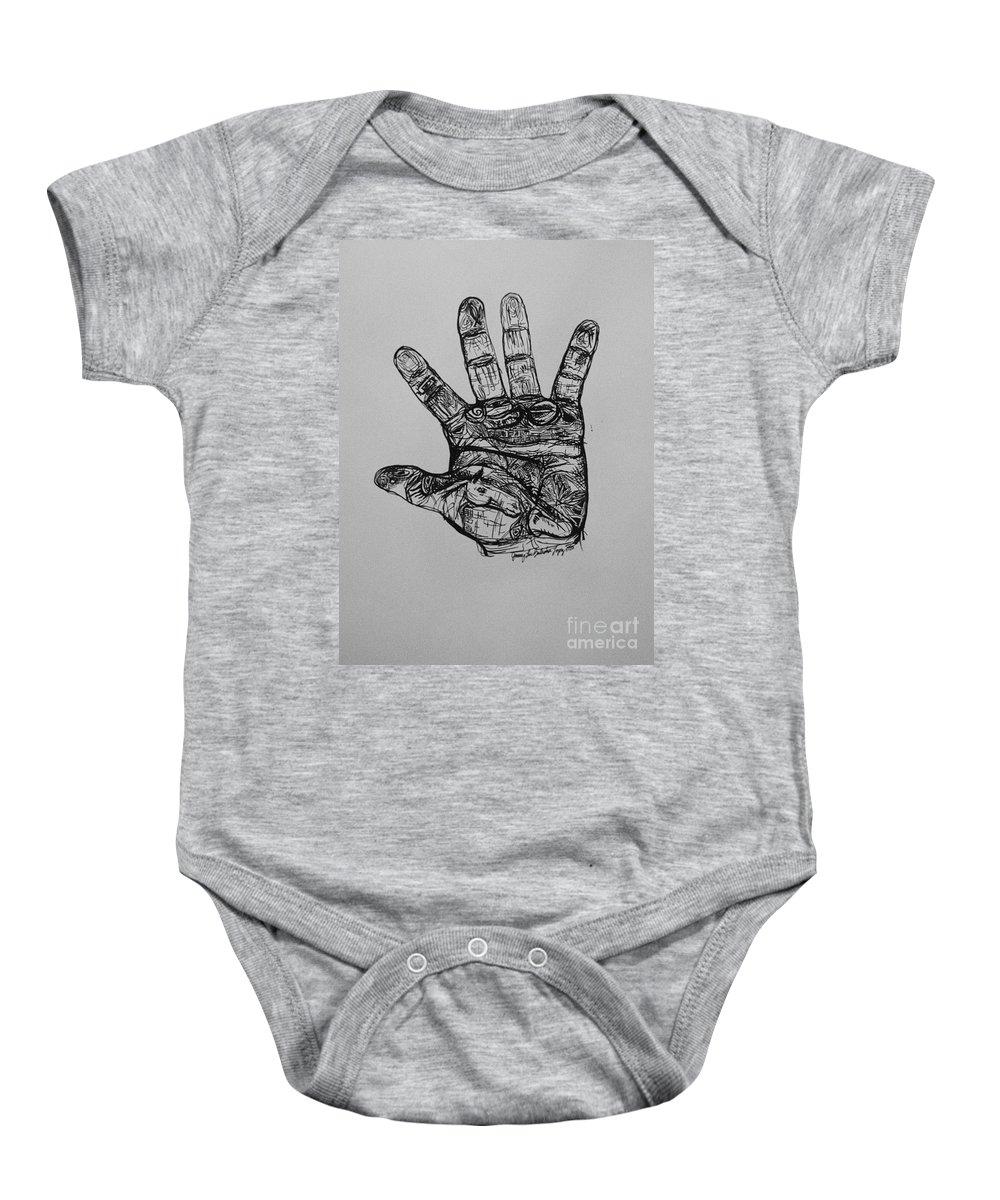 Hands Baby Onesie featuring the drawing Artist Hand Variation I by Jamey Balester