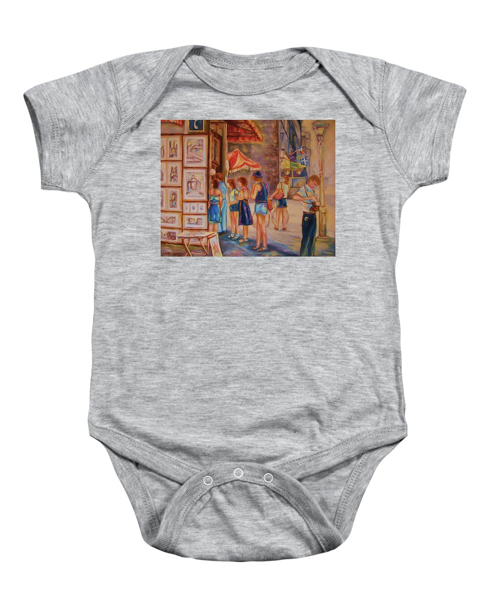 Old Montreal City Scenes Baby Onesie featuring the painting Artists Corner Rue St Jacques by Carole Spandau