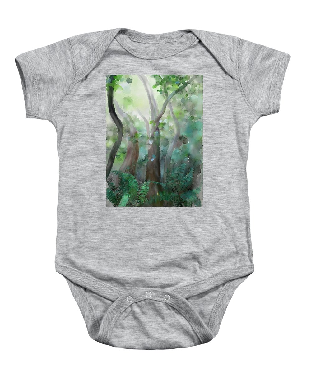 Forest Baby Onesie featuring the painting Jungle by Ivana Westin