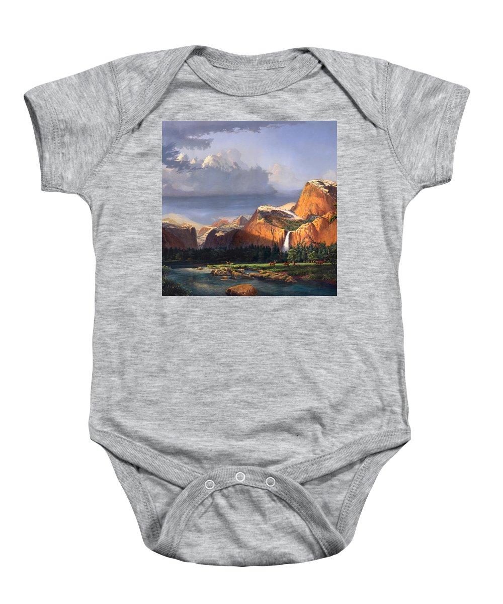 American Baby Onesie featuring the painting Deer Meadow Mountains Western stream Deer waterfall Landscape Oil Painting stormy sky snow scene by Walt Curlee