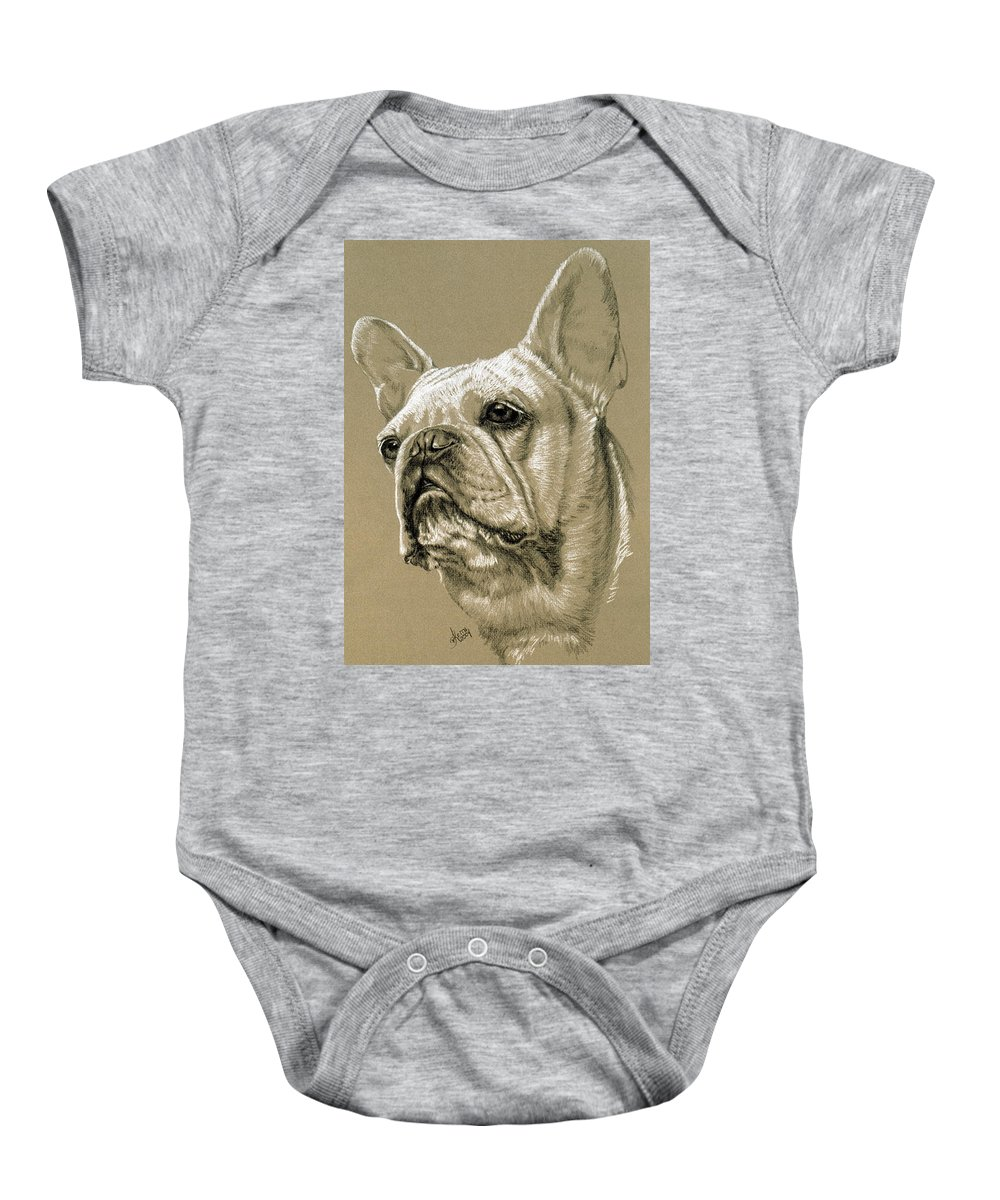 Dog Baby Onesie featuring the drawing French Bulldog by Barbara Keith