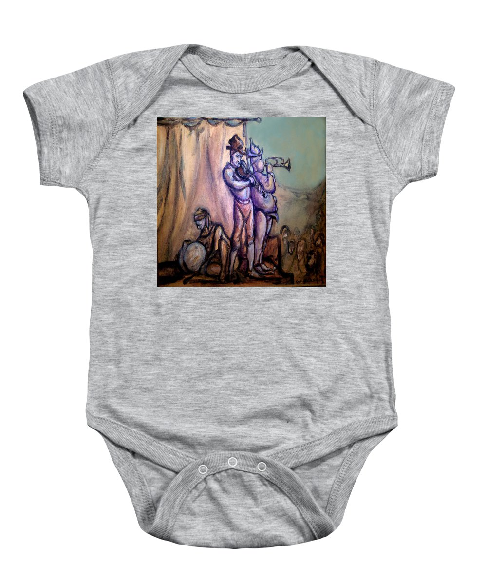 Gypsies Baby Onesie featuring the painting Gypsies Part 2 by Kevin Middleton