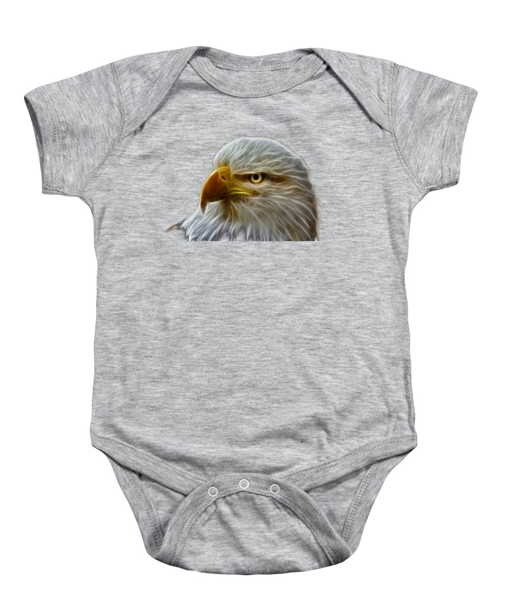 Bald Eagle Baby Onesie featuring the photograph Glowing Eagle by Shane Bechler