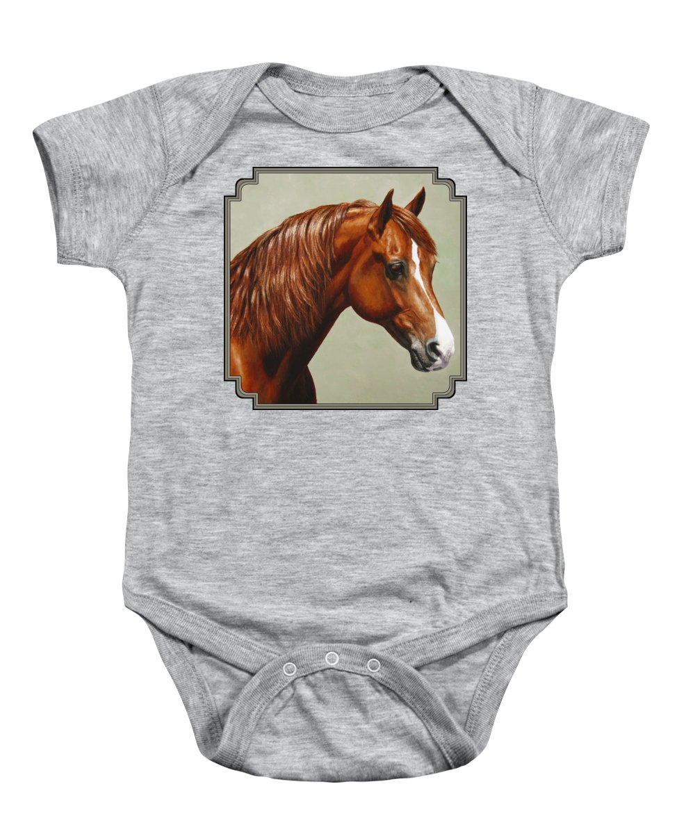 Horse Baby Onesie featuring the painting Morgan Horse - Flame by Crista Forest