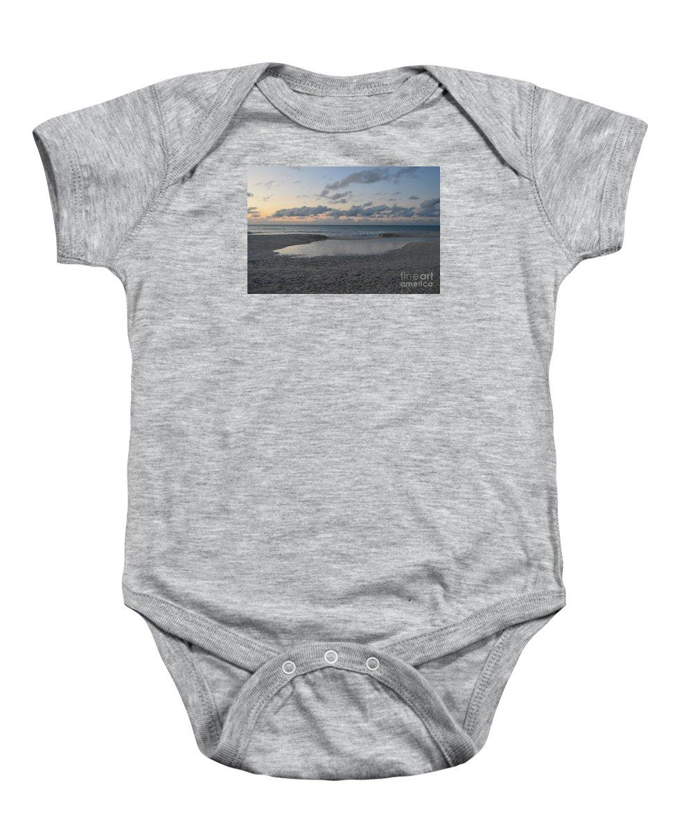 Dusk Baby Onesie featuring the photograph Aruba Beach At Dusk by DejaVu Designs
