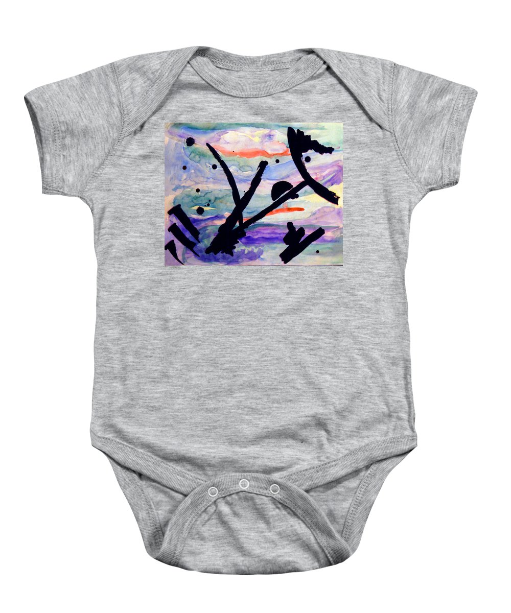 Abstract Baby Onesie featuring the painting Asian Impression by Steve Karol