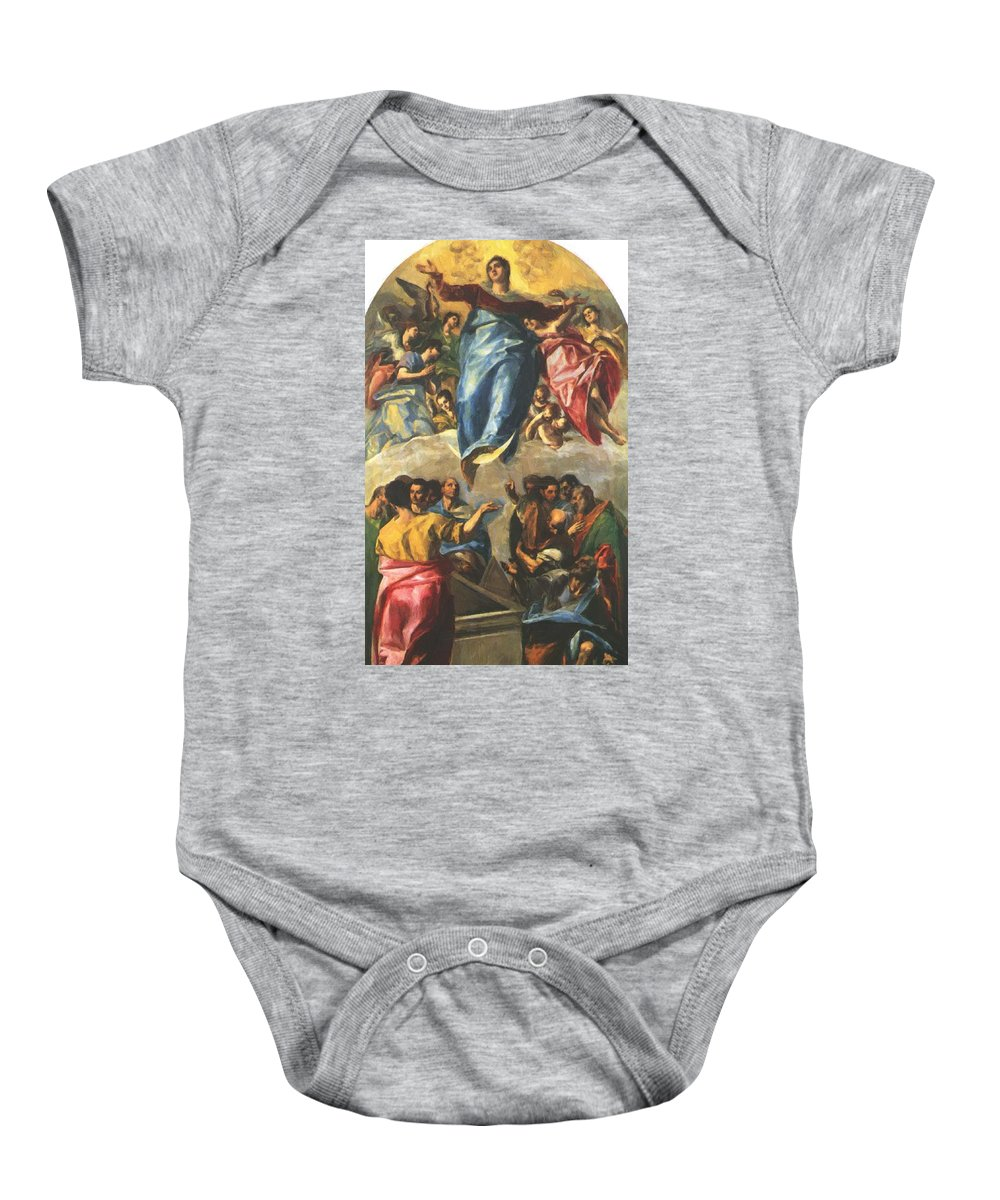 Assumption Baby Onesie featuring the painting Assumption Of The Virgin 1577 by El Greco
