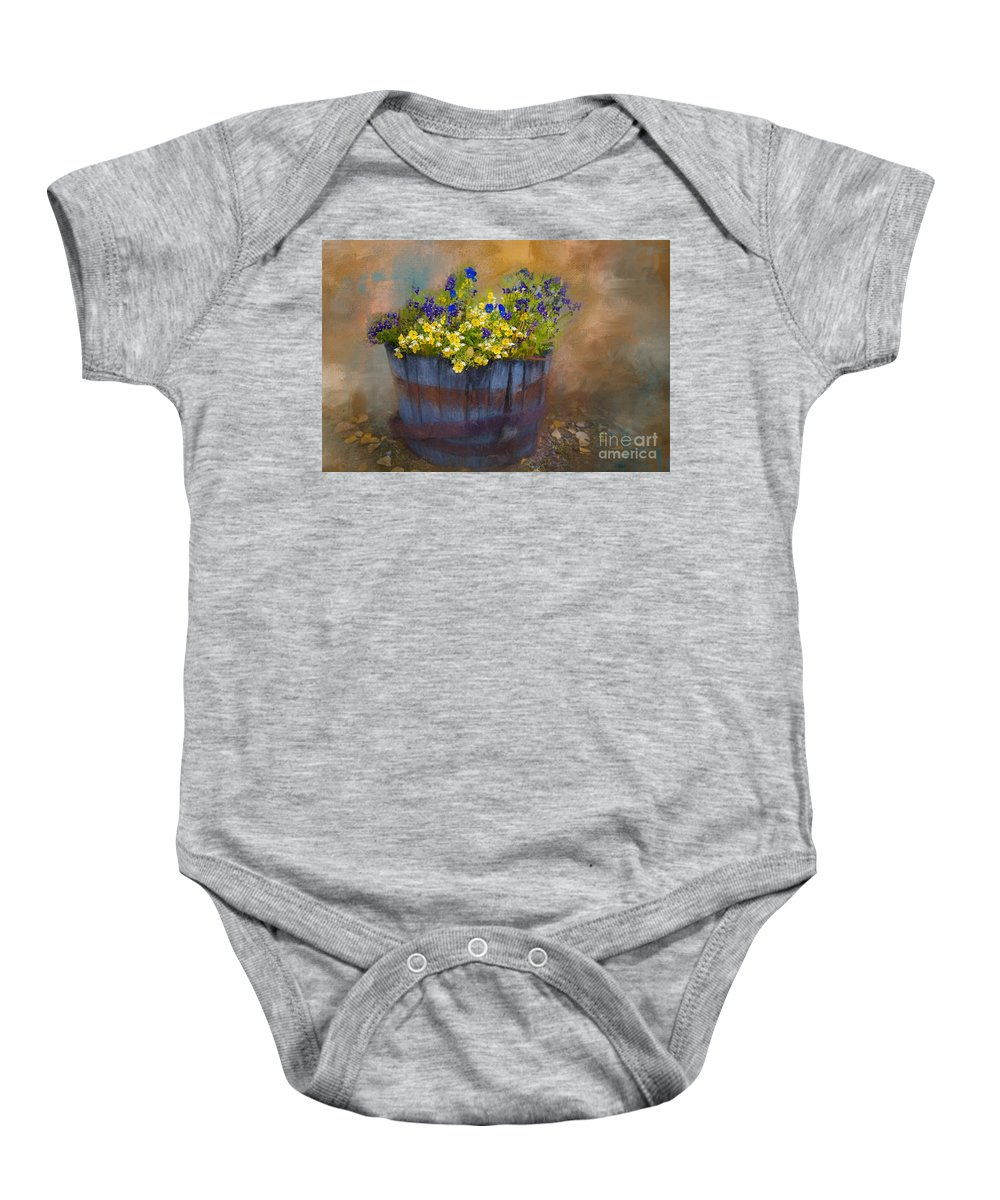 Pansies Baby Onesie featuring the painting At Rika's Roadhouse by Eva Lechner