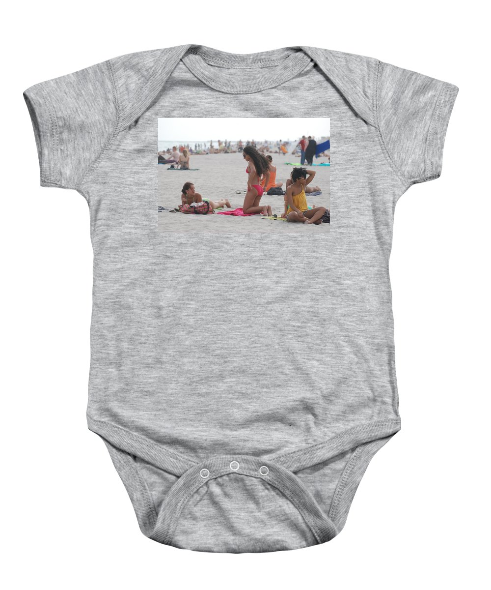 Girls Baby Onesie featuring the photograph At The Beach by Rob Hans