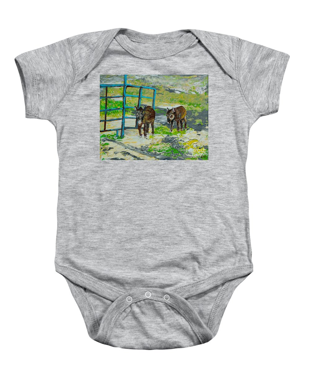 America Baby Onesie featuring the painting At The Farm by Alys Caviness-Gober