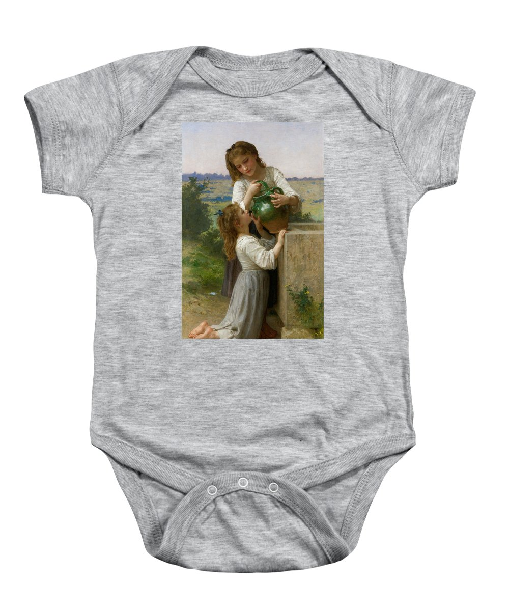 William-adolphe Bouguereau Baby Onesie featuring the painting At The Fountain by William-Adolphe Bouguereau
