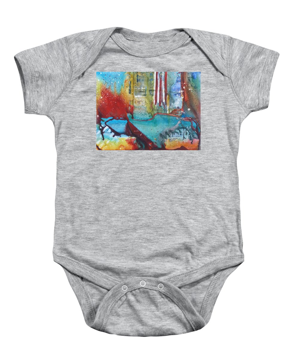 Abstract Baby Onesie featuring the painting Atlantis Crashing Into The Sea by Ruth Kamenev
