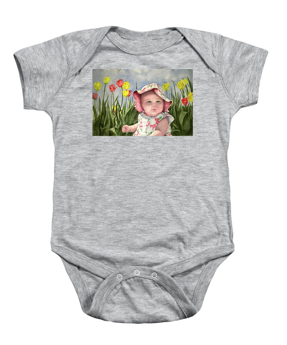 Kids Baby Onesie featuring the painting Audrey by Sam Sidders