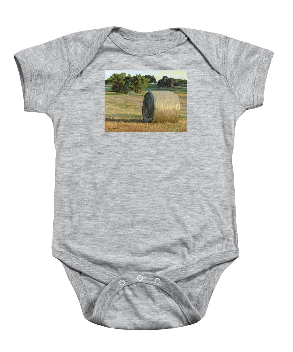 Landscape Baby Onesie featuring the painting August Bales by Bruce Morrison