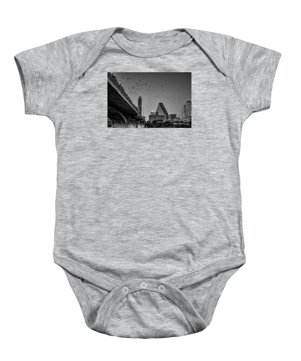 Austin Baby Onesie featuring the photograph Austin Bat Watch Black And White by Tod and Cynthia Grubbs