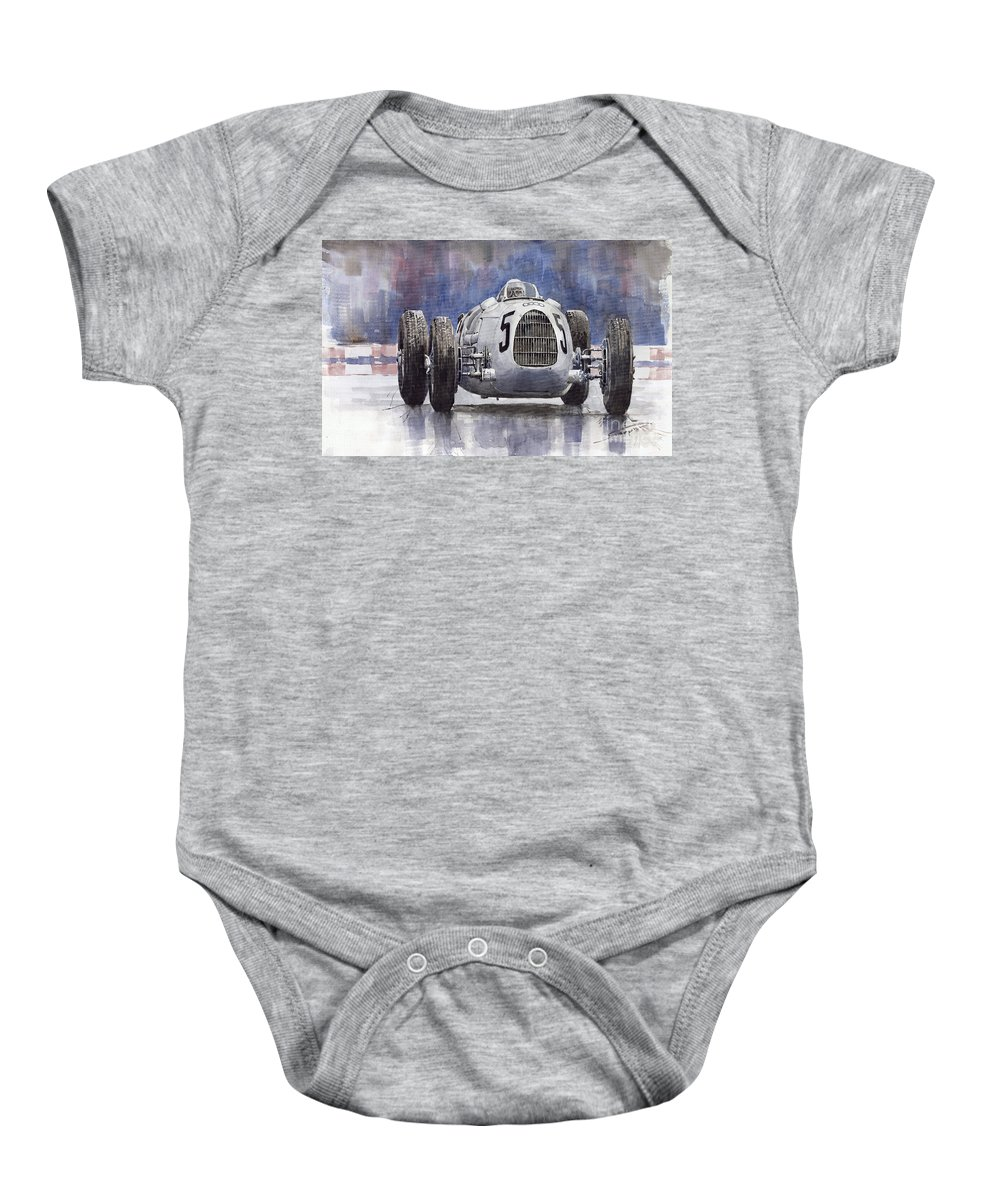 Auto Baby Onesie featuring the painting Auto-union Type C 1936 by Yuriy Shevchuk
