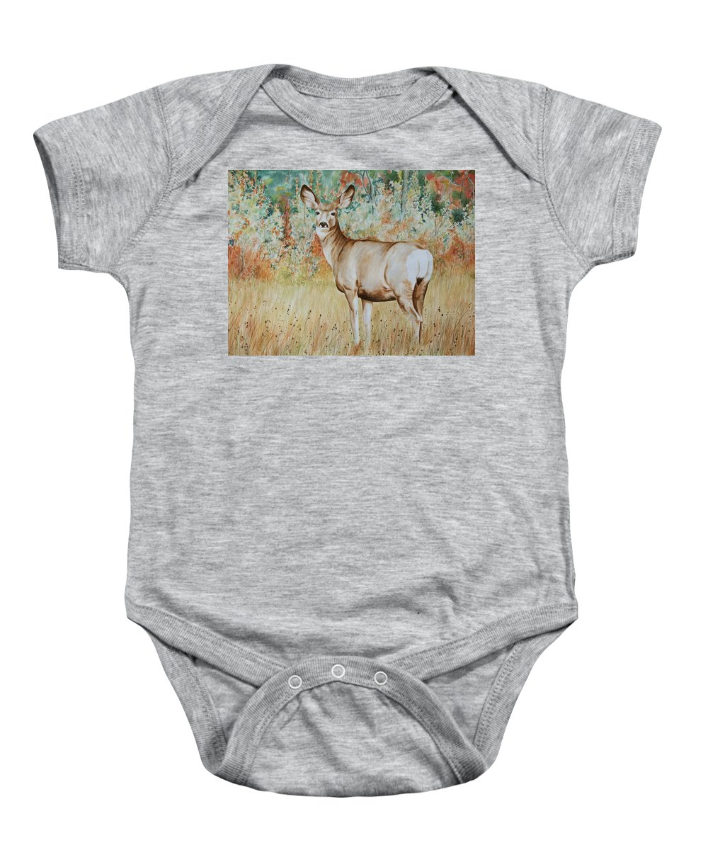 Wildlife Baby Onesie featuring the painting Autumn Beauty- Mule Deer Doe by Elaine Booth-Kallweit
