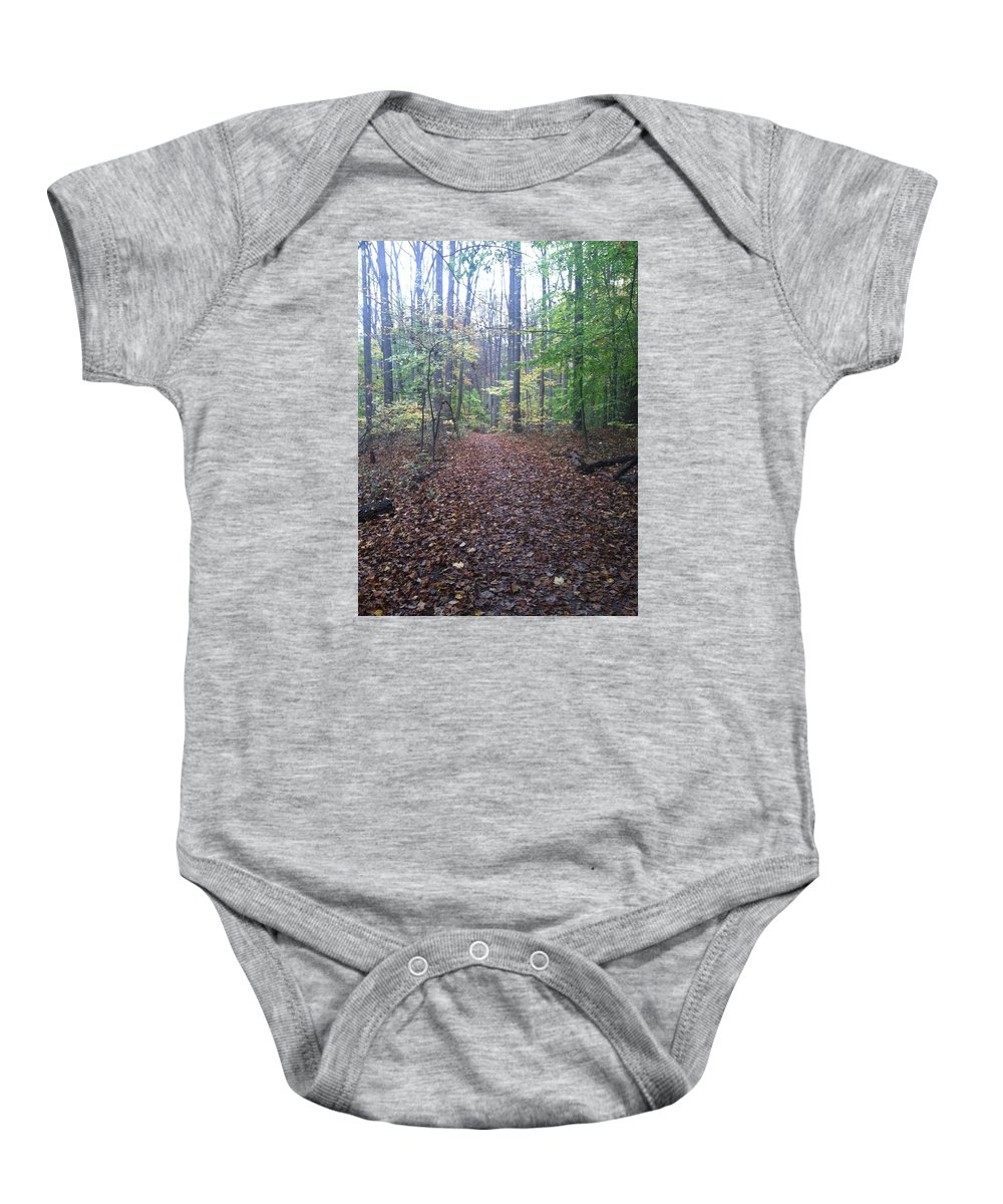 Leaves Baby Onesie featuring the photograph Autumn Calm by Megan Thompson
