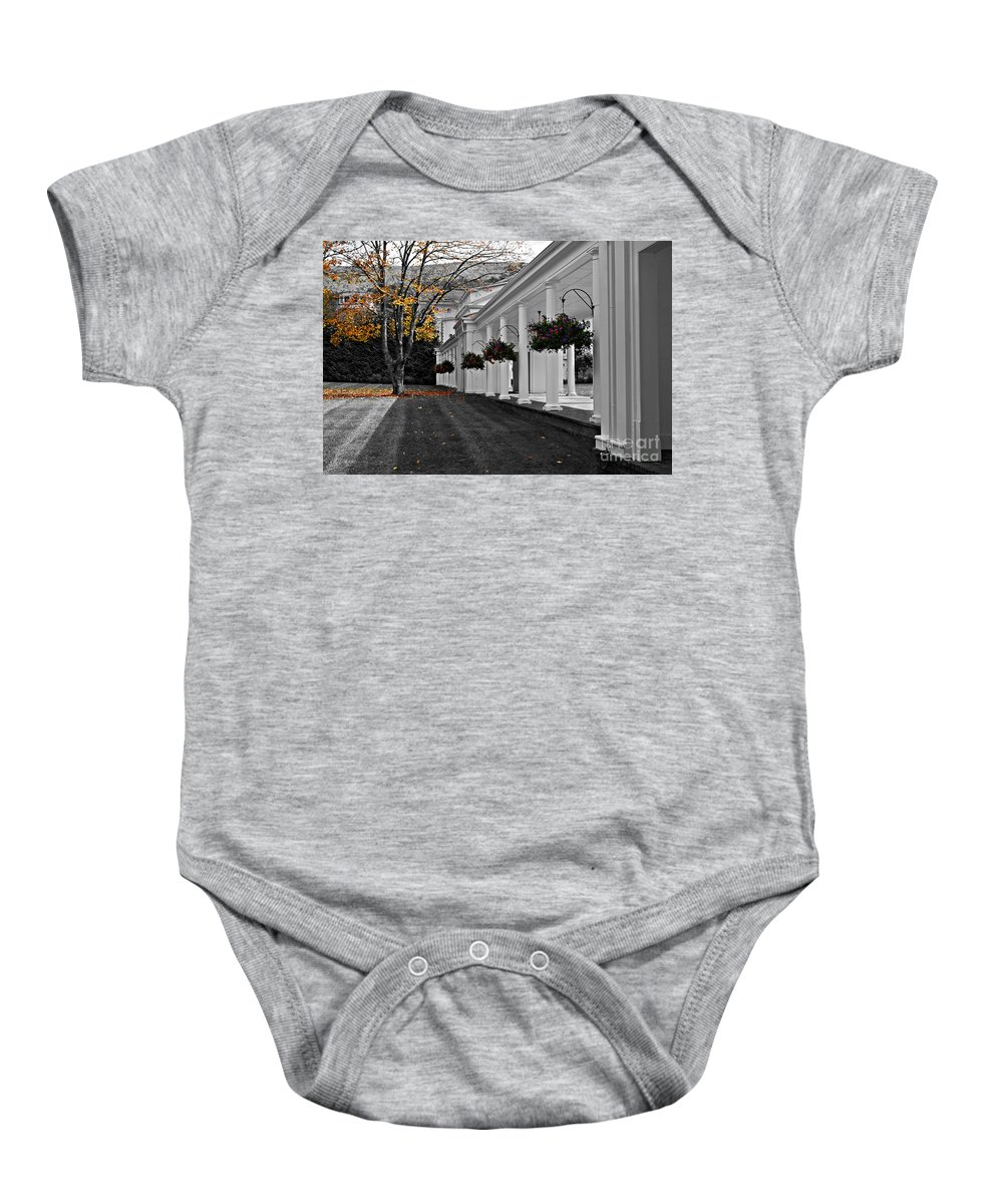 Black And White Baby Onesie featuring the photograph Autumn in Bath County Virginia by Eric Liller