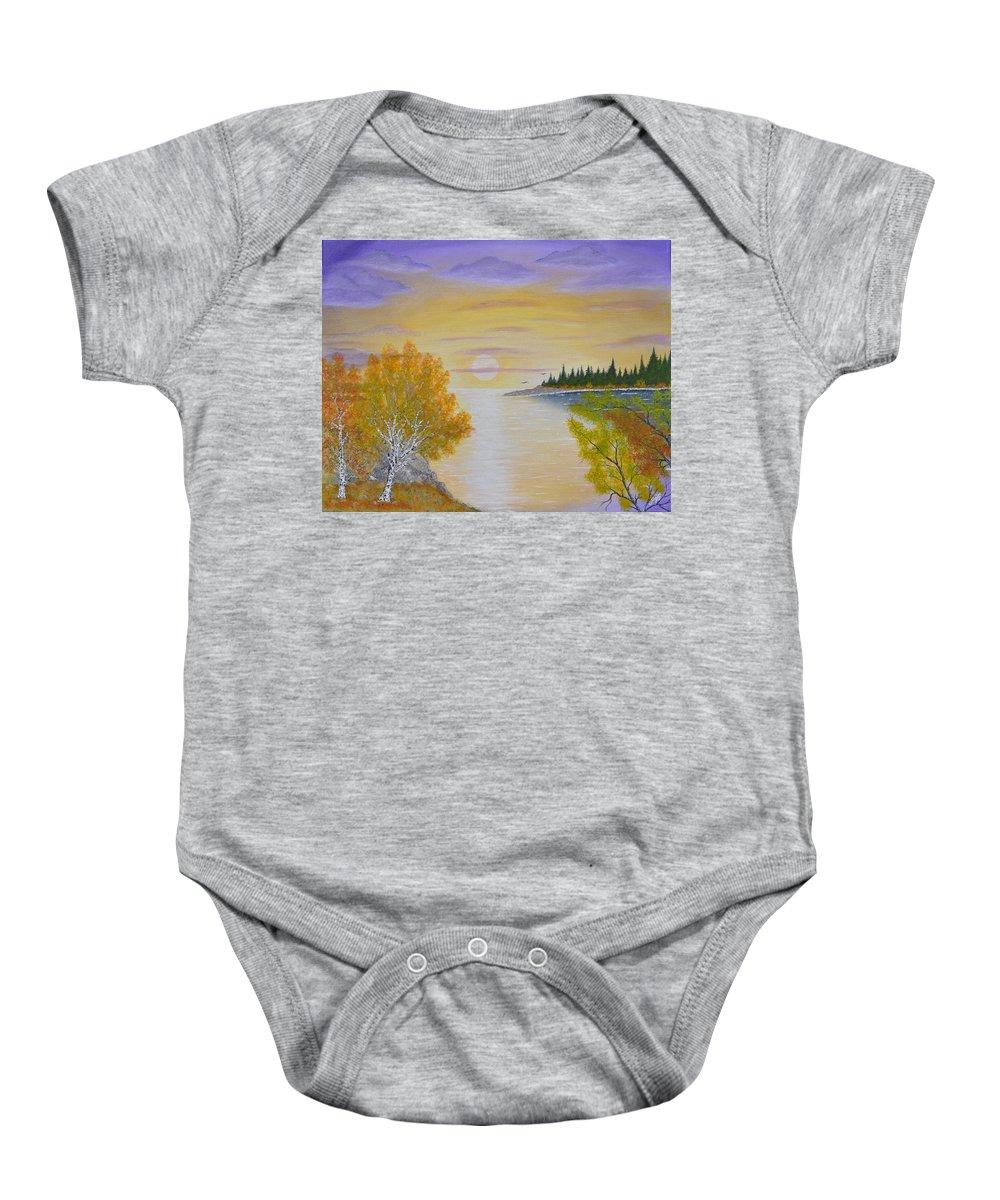 Modern Baby Onesie featuring the painting Autumn Lake Sunset by Georgeta Blanaru