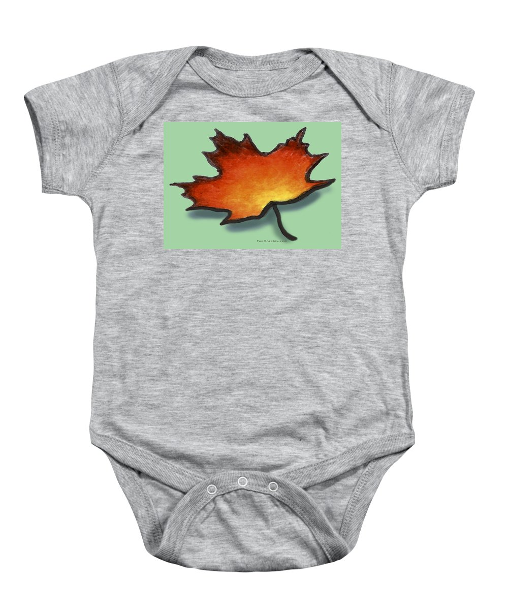Leaf Baby Onesie featuring the greeting card Autumn Leaf by Kevin Middleton