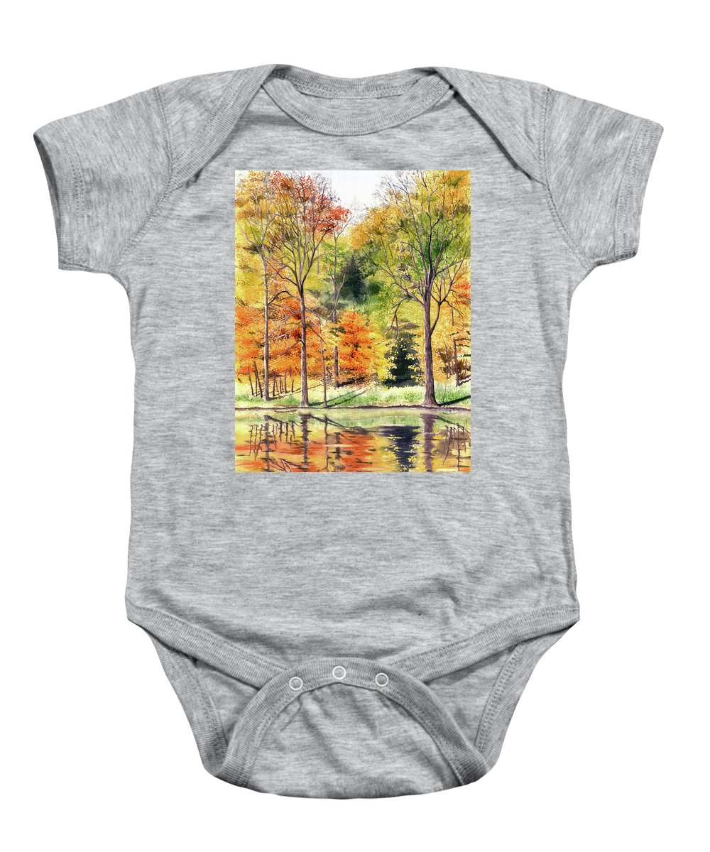 Autumn Baby Onesie featuring the painting Autumn Oranges by Mary Tuomi
