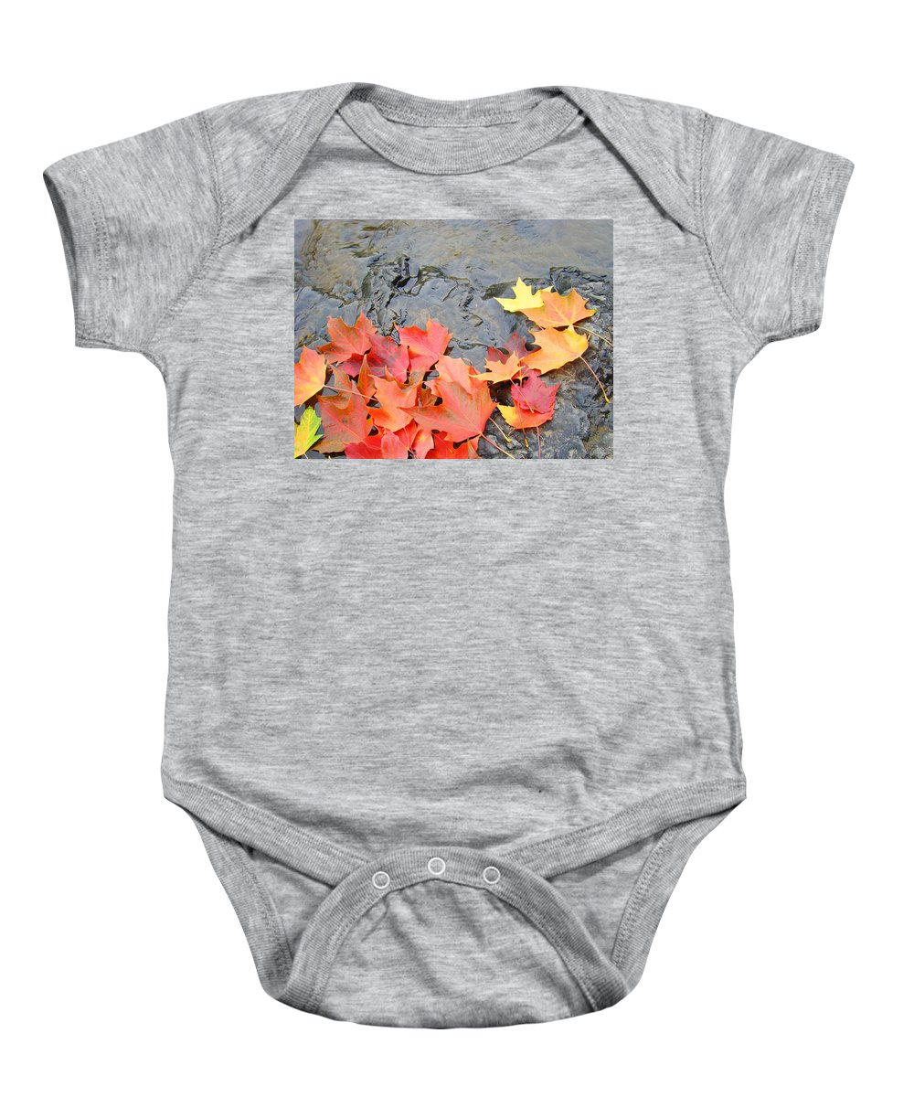 Autumn Baby Onesie featuring the photograph Autumn River Landscape Red Fall Leaves by Baslee Troutman