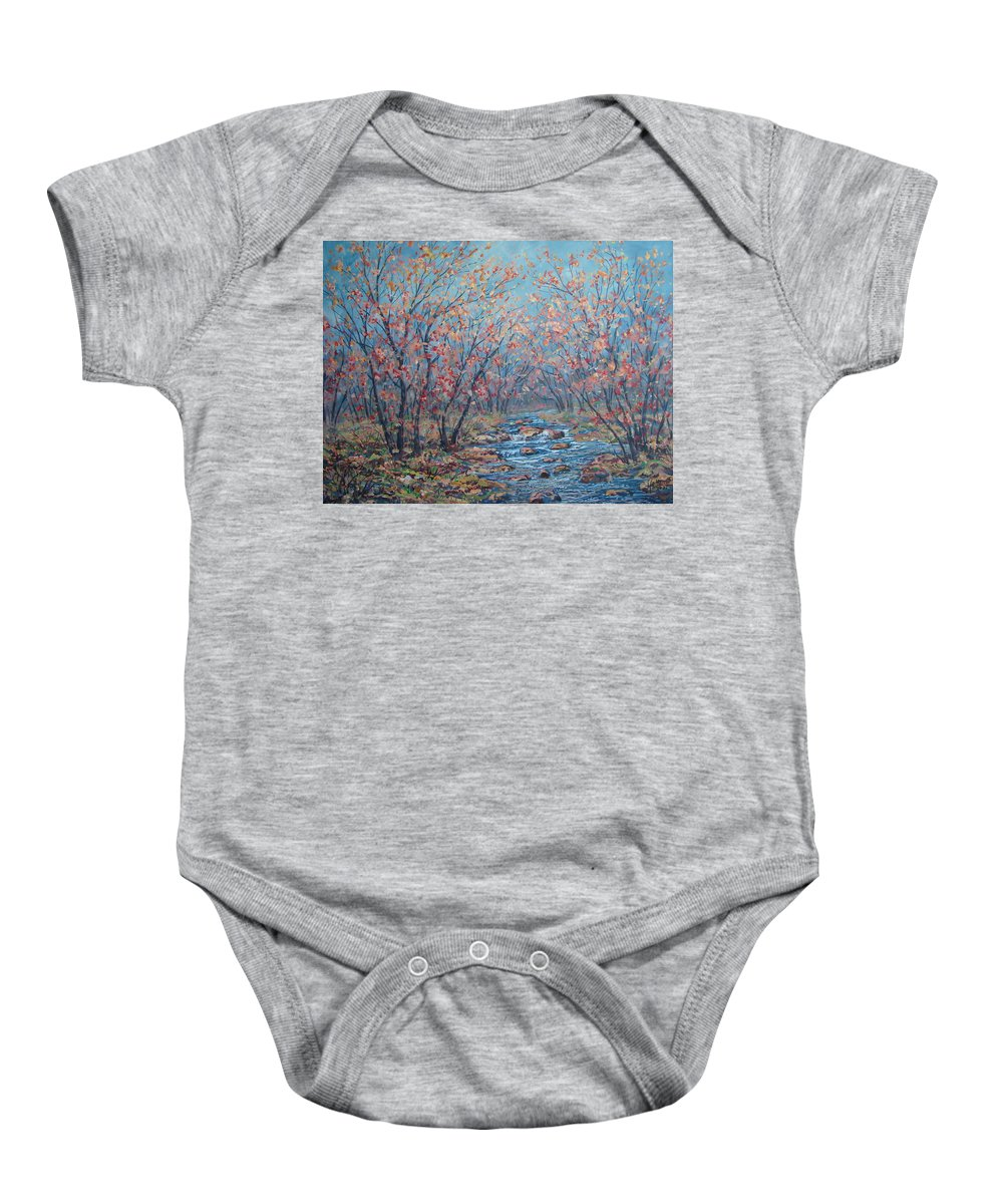 Landscape Baby Onesie featuring the painting Autumn Serenity by Leonard Holland