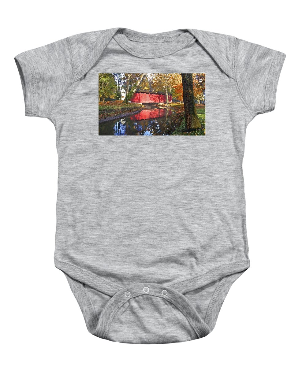 Covered Bridge Baby Onesie featuring the photograph Autumn Sunrise Bridge by Margie Wildblood