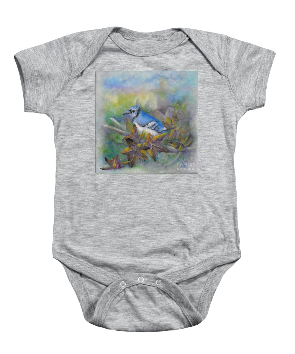 Autumn Baby Onesie featuring the painting Autumn Sweet Gum With Blue Jay by Sheri Hubbard