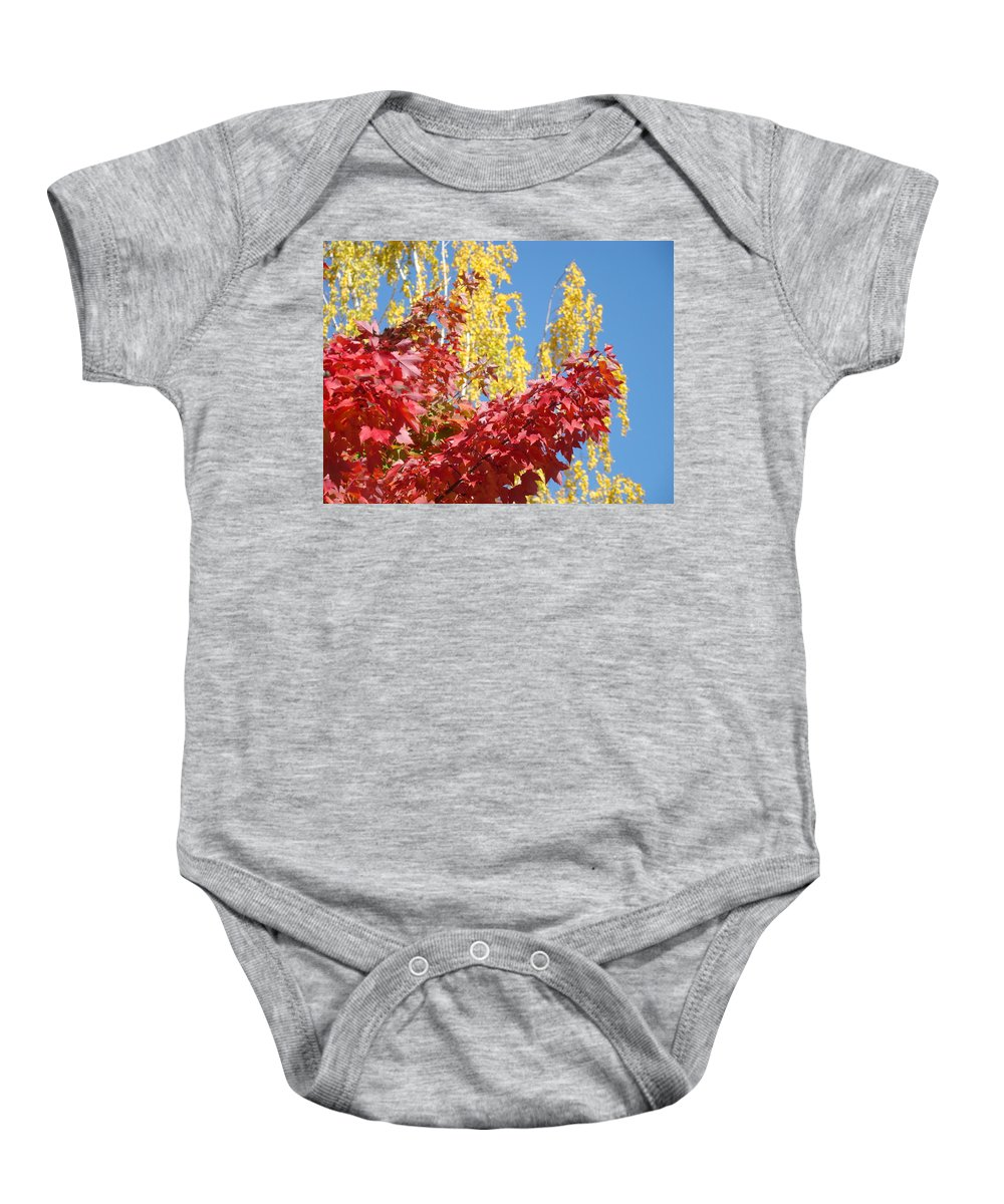 Autumn Baby Onesie featuring the photograph AUTUMN TREES Red Yellow Fall Tree Blue Sky Landsape by Patti Baslee