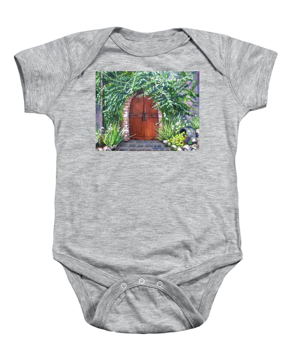 Door Curved Archway Baby Onesie featuring the painting Avignon by Olga Kaczmar