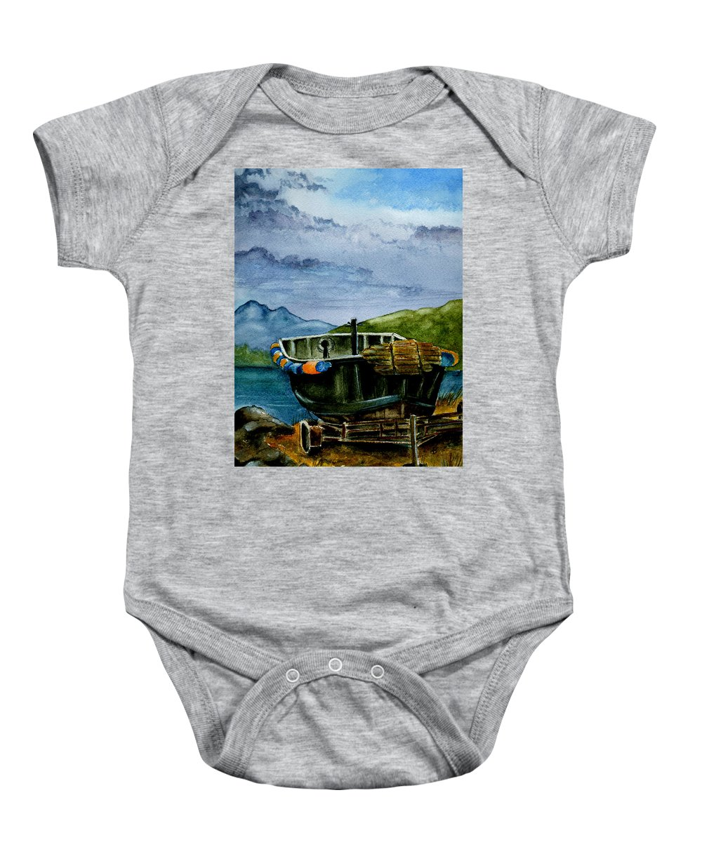 Watercolor Baby Onesie featuring the painting Awaiting The Season by Brenda Owen