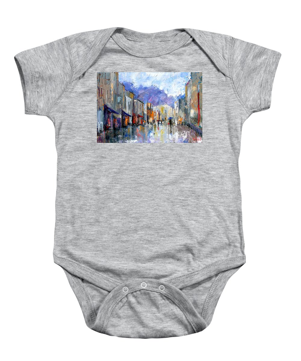 Architecture Baby Onesie featuring the painting Awnings by Debra Hurd