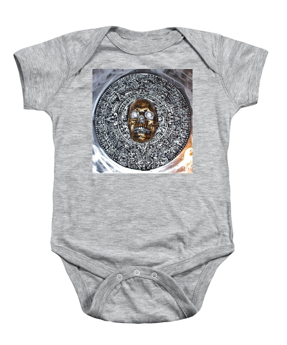 Hand Painted Plaster Sculpture Of Aztec/ Mayan Skull Warrior Calendar Relief Photo Baby Onesie featuring the photograph Aztec Mayan Skull Warrior Calendar Relief Photo by Americo Salazar