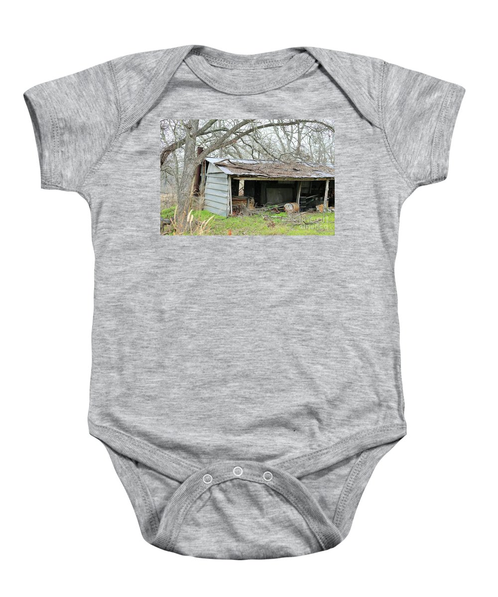 Tin Shed Baby Onesie featuring the photograph b7 by Jeff Downs