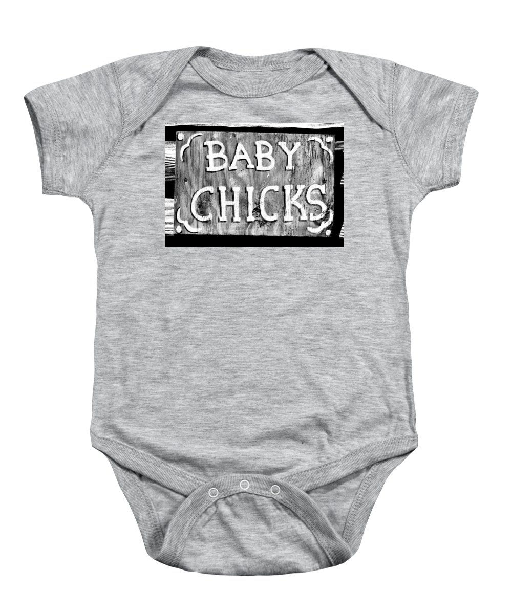Baby Chicks Baby Onesie featuring the photograph Baby Chicks Bw by Pamela Critchlow