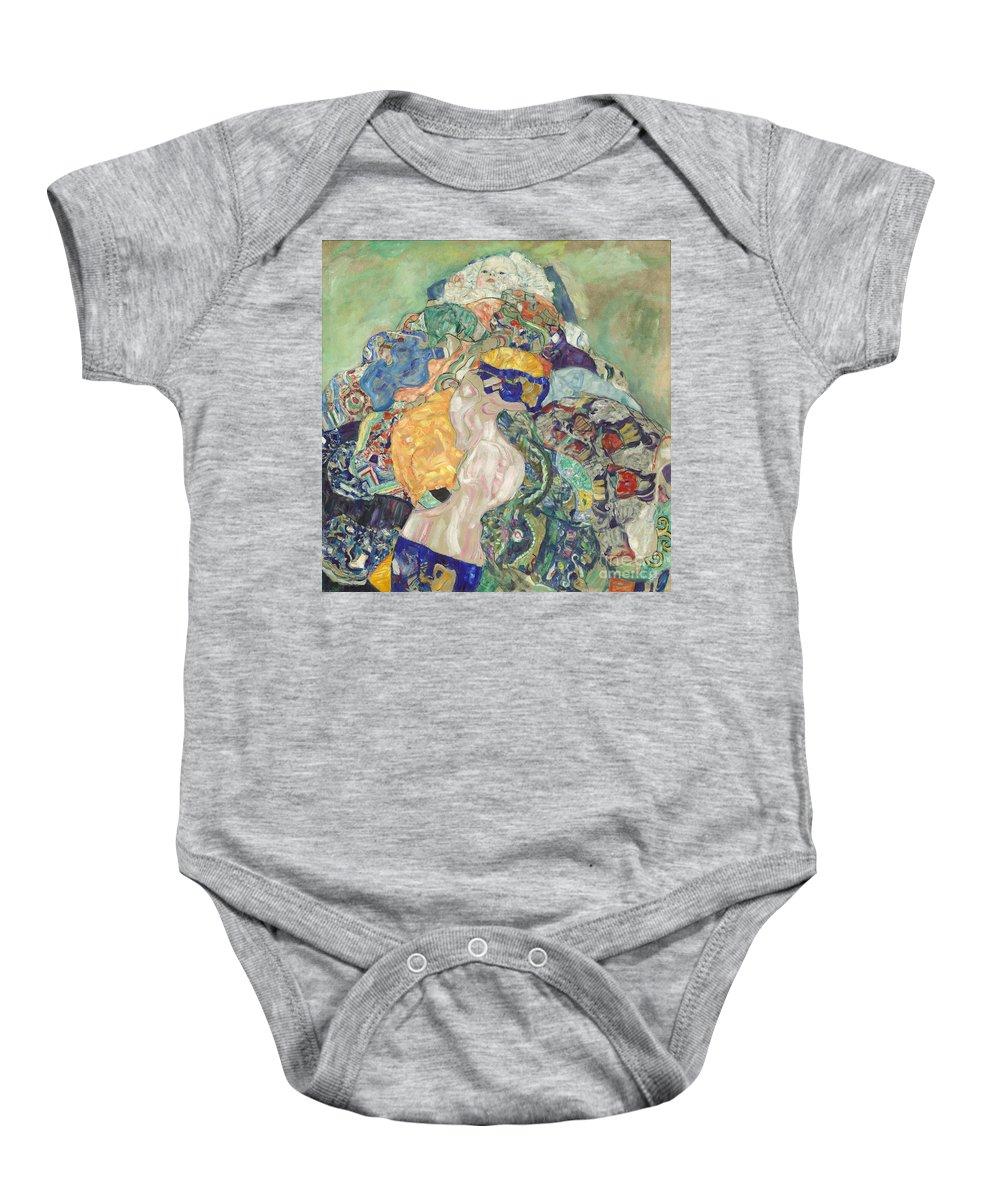 Baby Onesie featuring the painting Baby (cradle) by Gustav Klimt