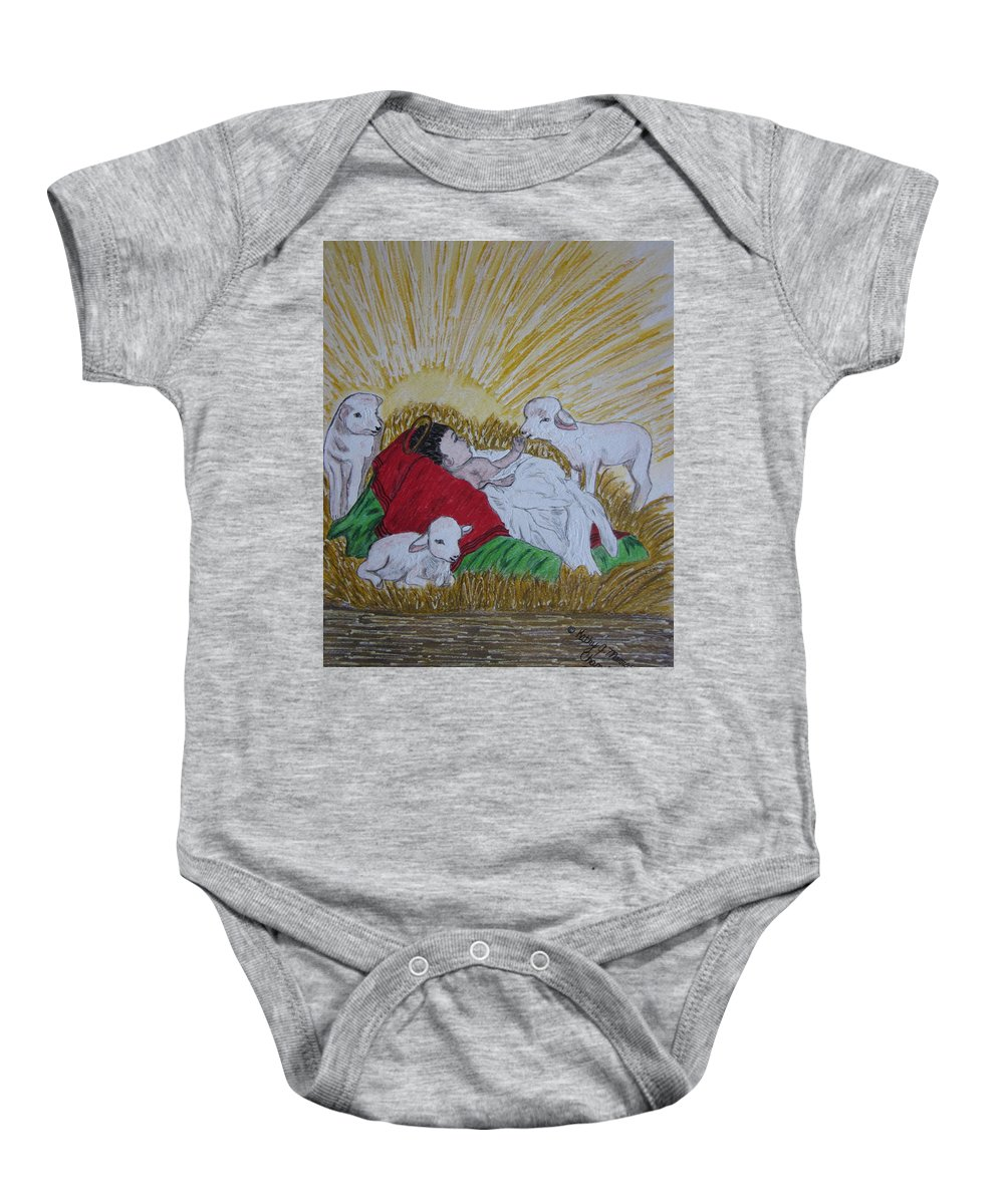 Saviour Baby Onesie featuring the painting Baby Jesus At Birth by Kathy Marrs Chandler