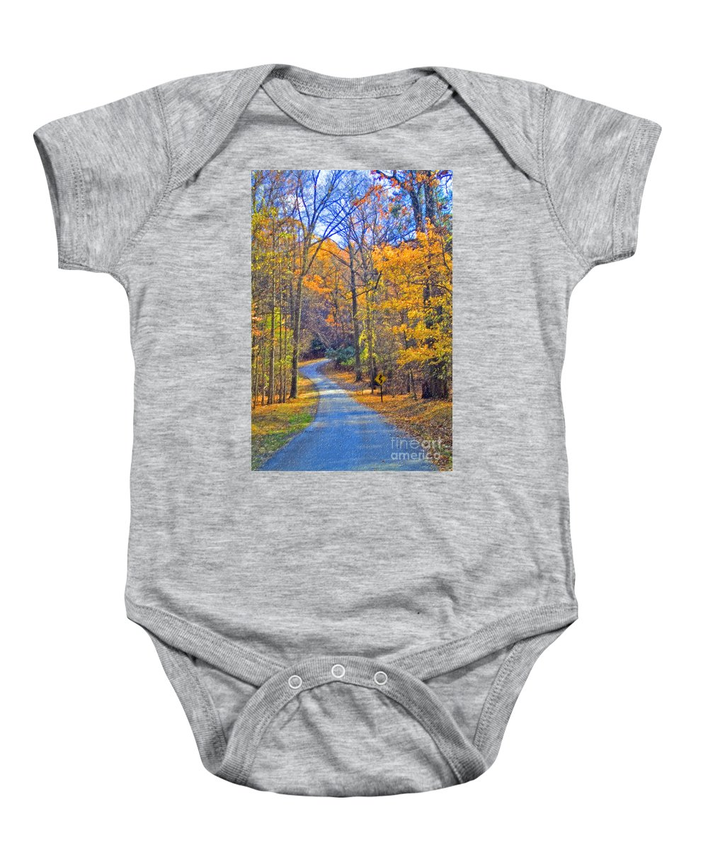 Back Road Fall Colors Foliage Revolutionary Civil War Road Valley Forge Pa Baby Onesie featuring the photograph Back Road Fall Foliage by David Zanzinger