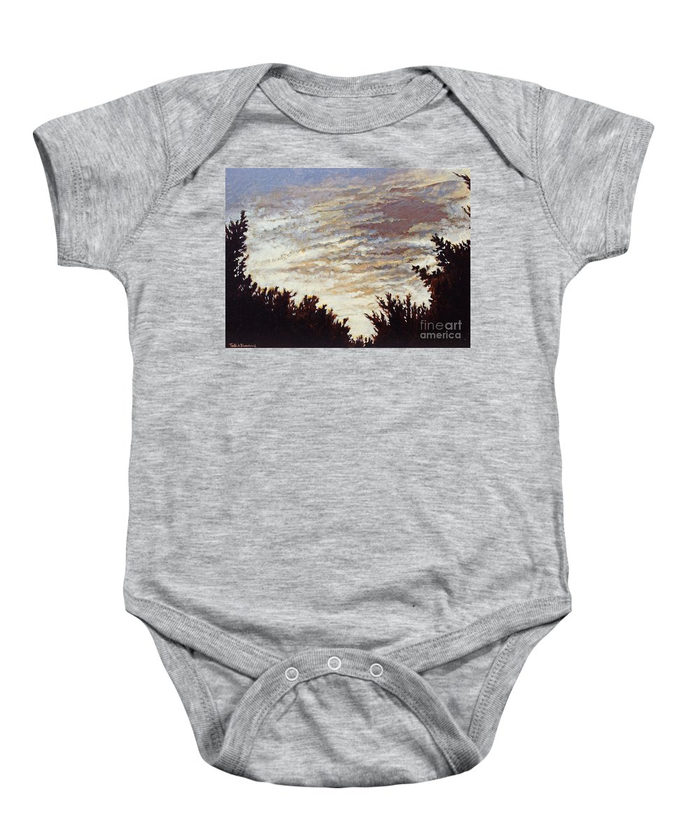 Landscape Baby Onesie featuring the painting Backyard Sunset by Todd Blanchard