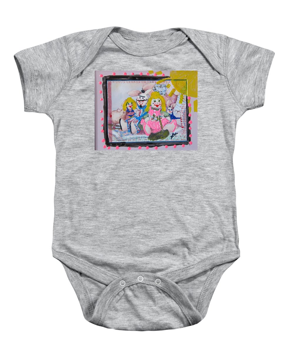 Adult Baby Onesie featuring the painting Bad Bunnies by Lisa Piper