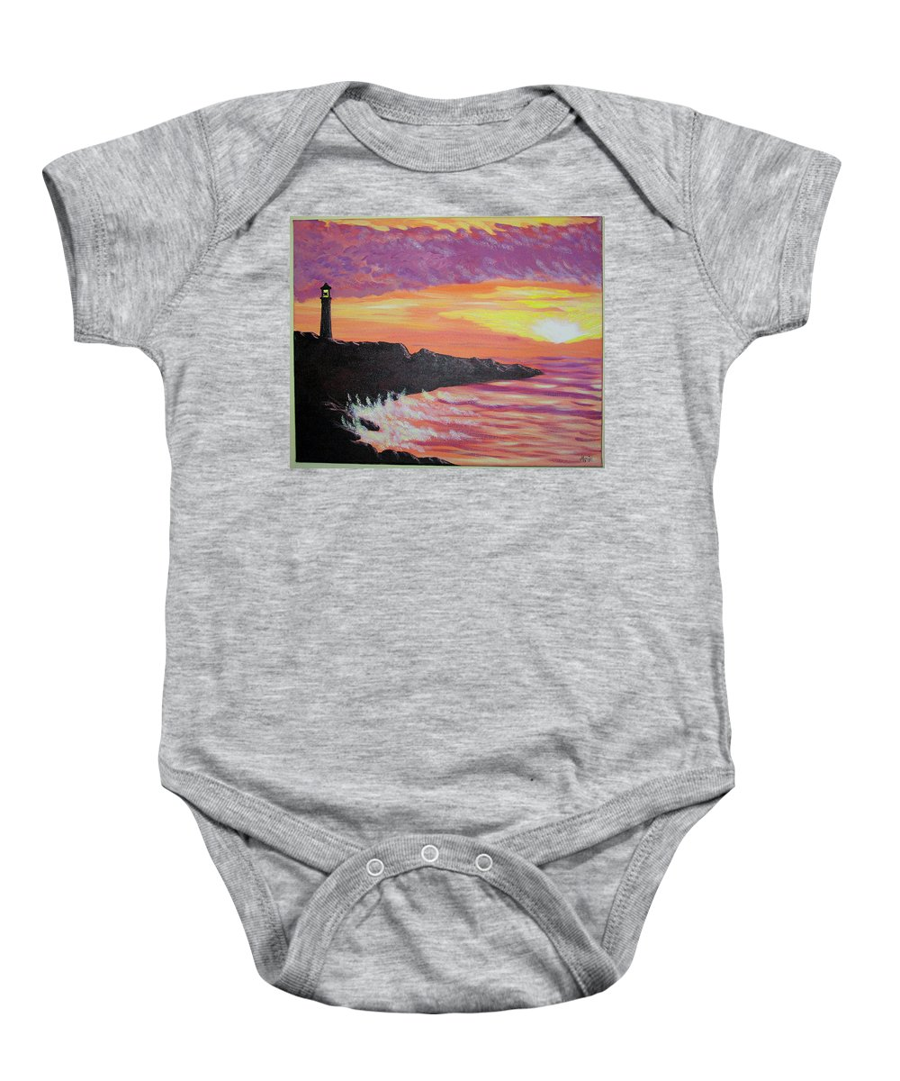 Seascape Baby Onesie featuring the painting Bahia At Sunset by Marco Morales