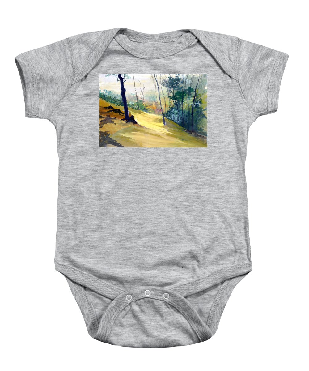Landscape Baby Onesie featuring the painting Balance by Anil Nene