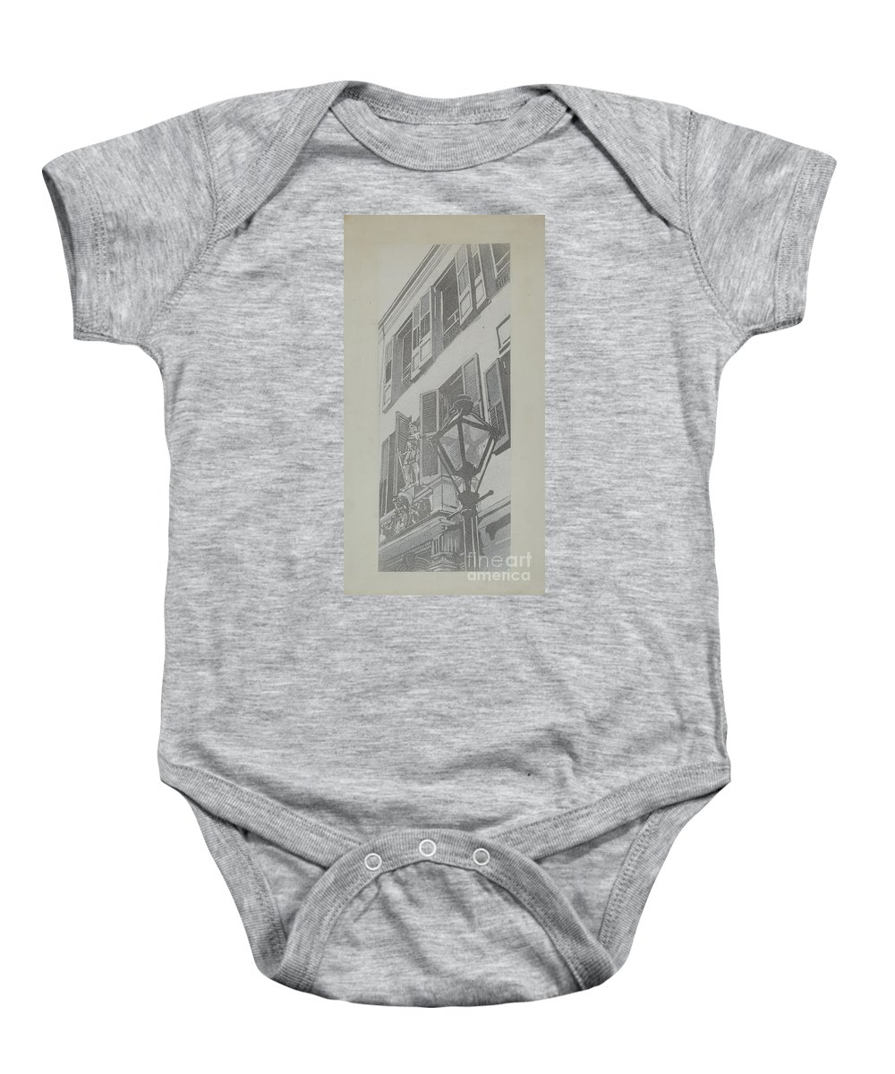 Baby Onesie featuring the drawing Balcony Railings by Arelia Arbo