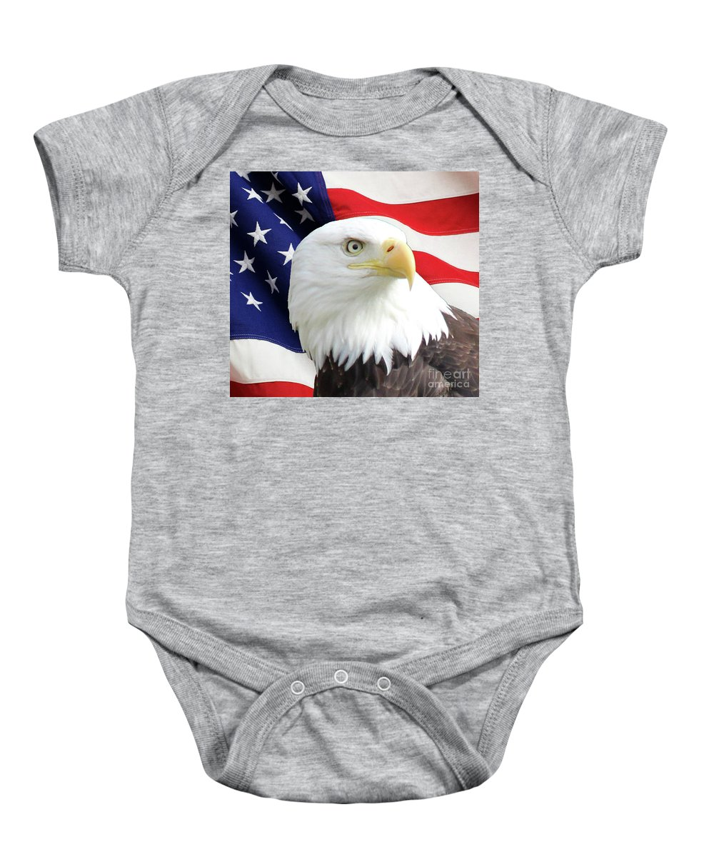 Bald Eagle Baby Onesie featuring the photograph Bald Eagle Close Up by Art Kurgin